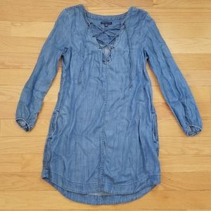 American Eagle Denim Lace Up Dress with Pockets